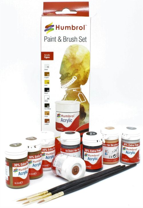 HUMBROL PAINT Figure And People Colors Acrylic Paint And Brush Set - PAINT/ACCESSORY