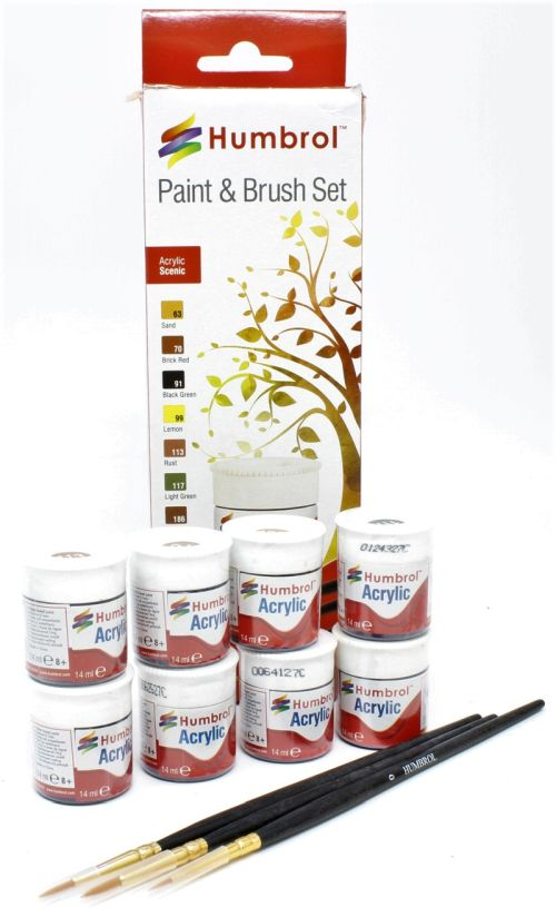 HUMBROL PAINT Scenic Colors Acrylic Paint And Brush Set - PAINT/ACCESSORY