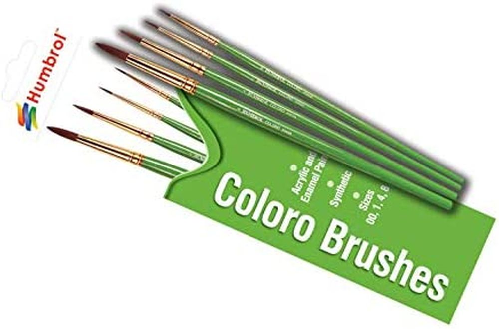 HUMBROL PAINT Coloro Brushes Set Sizes 00, 1, 4, 8 - PAINT/ACCESSORY