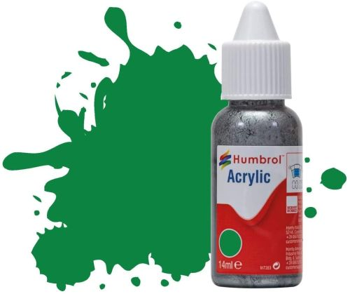 HUMBROL PAINT Emerald Green Gloss Acrylic 14ml Paint In Dropper Bottle - PAINT/ACCESSORY