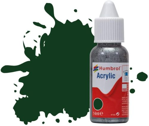 HUMBROL PAINT Brunswick Green Gloss Acrylic 14ml Paint In Dropper Bottle - PAINT/ACCESSORY