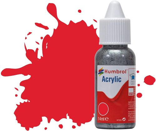 HUMBROL PAINT Red Gloss 14ml Acrylic Paint In Dropper Bottle - PAINT/ACCESSORY