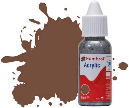 HUMBROL PAINT Chocolate Matt 14ml Acrylic Paint In Dropper Bottle - PAINT/ACCESSORY