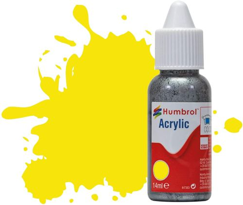 HUMBROL PAINT Lemon Matt 14ml Acrylic Paint In Dropper Bottle - PAINT/ACCESSORY