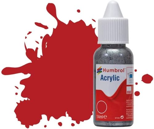 HUMBROL PAINT Insignia Red Matt 14ml Acrylic Paint In Dropper Bottle - PAINT/ACCESSORY