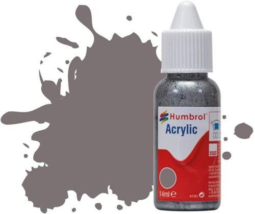 HUMBROL PAINT Dark Camouflage Grey Satin 14ml Acrylic Paint In Dropper Bottle - PAINT/ACCESSORY