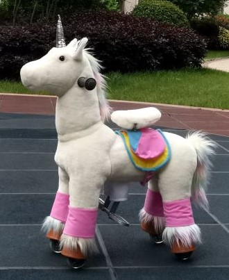 TODDLER TOYS Rainbow Unicorn Pony Rocking Cycle Mecanical Trotting Ride On Horse Age 2-5